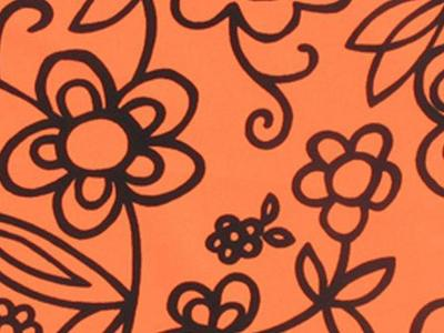FLOWER SKETCH ON LYCRA BLACK-ORANGE