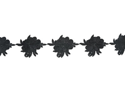 NATASHA CROCHET RIBBON BLACK